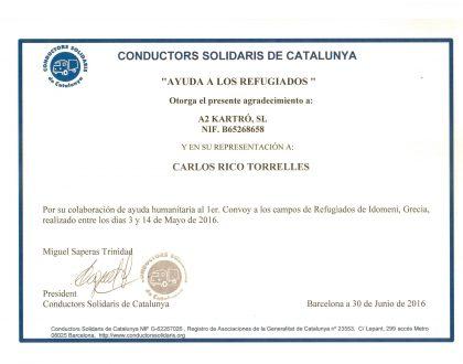 A2 kartró recibe el agradecimiento de Conductors Solidaris de Catalunya